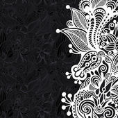 Black and white floral pattern — 图库矢量图片