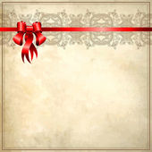 Holiday background with red ribbon on old paper — Stock Vector