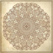 Disegno del cerchio fiore sullo sfondo grunge con ornamento di pizzo — Vettoriale Stock