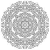 Circle ornament, black and white ornamental round lace — Stock Vector