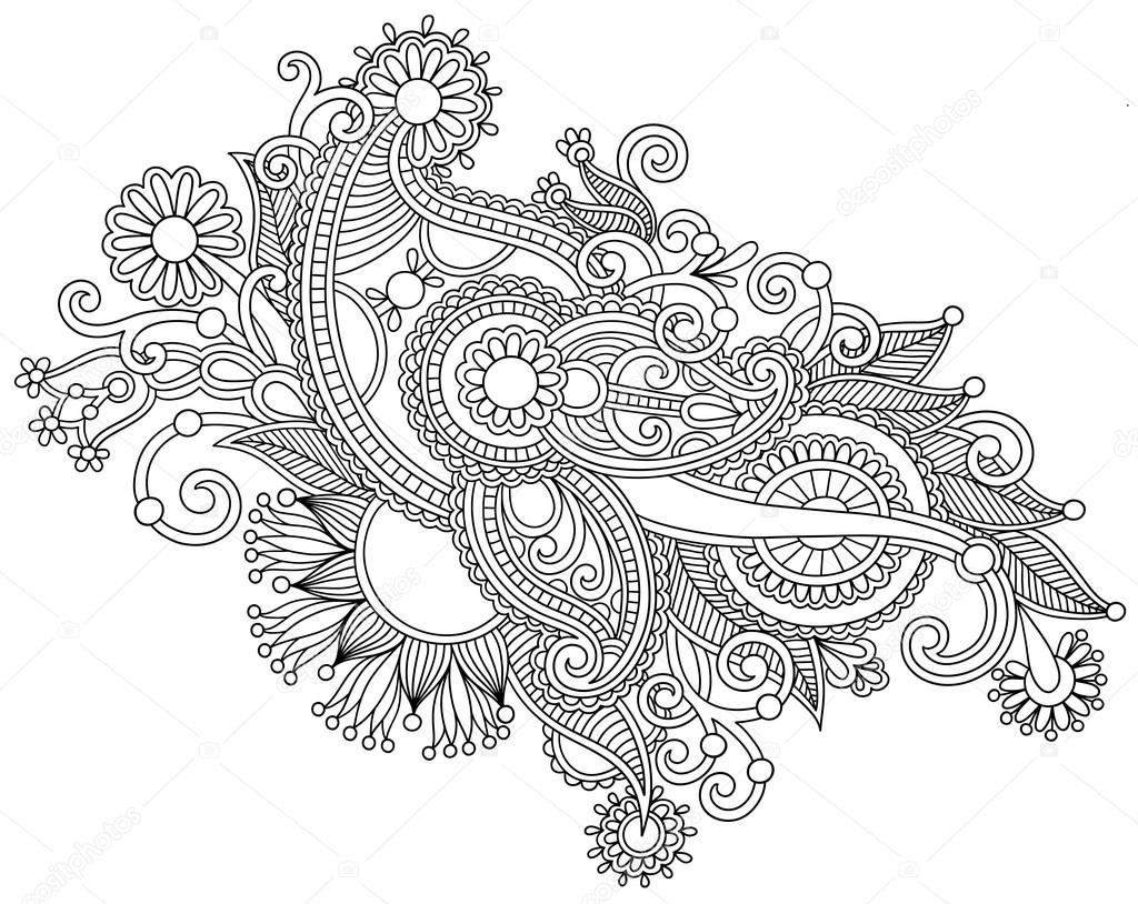 Hand draw black and white line art ornate flower design stock vector karakotsya 18038817 - Design art black and white ...
