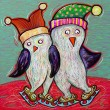 Doodle penguin couple ice skate, digital painting illustration — Stock Photo