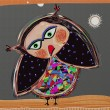 Royalty-Free Stock Photo: Cartoon doodle bird, digital painting illustration