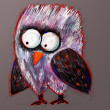 Doodle crazy owl, digital painting illustration — Stock Photo