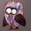 Royalty-Free Stock Photo: Doodle crazy owl, digital painting illustration