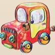 Colorful car toy, digital painting illustration — Stock Photo
