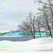 Rural winter landscape , digital painting illustration — Lizenzfreies Foto