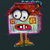 Doodle terrible house, digital painting illustration — Stock Photo
