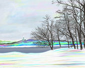 Rural winter landscape , digital painting illustration — Foto de Stock