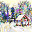 Digital painting of winter landscape — Stock Photo