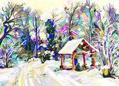 冬の風景のデジタル絵画 — ストック写真