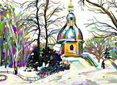 Digital painting of winter landscape — Stock Photo