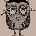 Original modern cute ornate doodle fantasy owl — Stock Vector #18053061