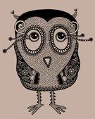 Originální moderní roztomilý zdobené doodle fantasy sova — Stock vektor