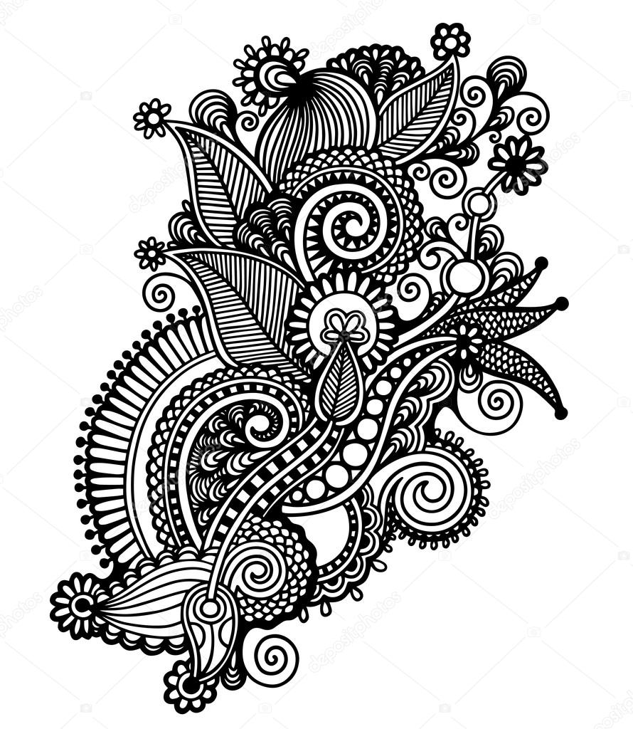 Black And White Line Drawing Flower : Hand draw black and white line art ornate flower design