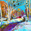 Original digital painting of winter cityscape. Modern Impressionism — Stock Photo #20102225