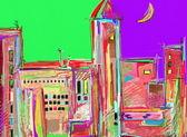 Original digital painting, night cityscape. Modern Impressionism — Stock Photo