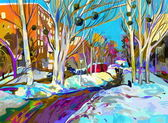 Original digital painting of winter cityscape. Modern Impressionism — Stock Photo