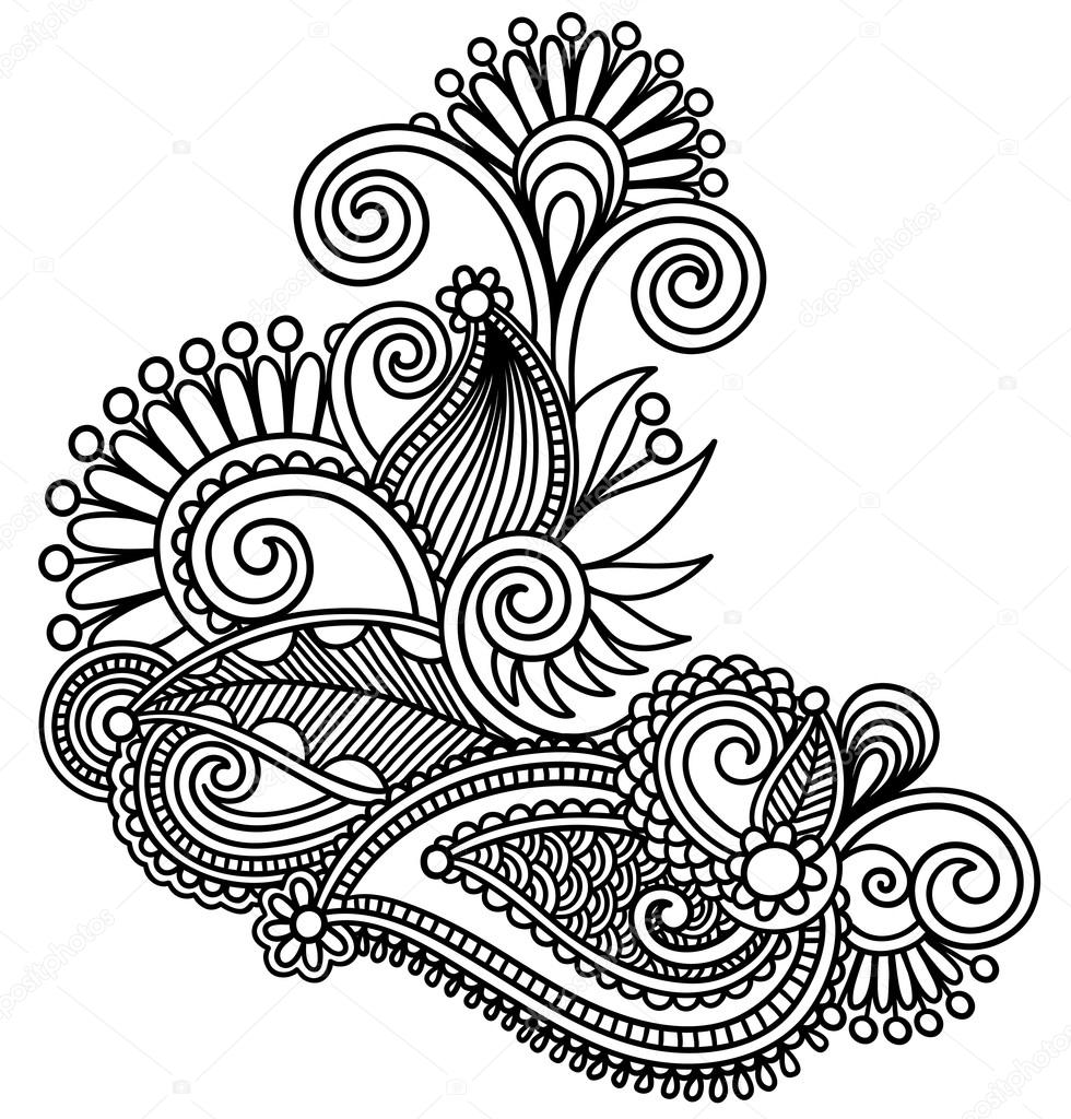 New Line Art Design : Original hand draw line art ornate flower design