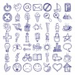 Set of 49 hand draw web icon design elements — Stok Vektör