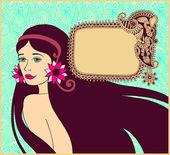 Piękna brunetka dziewczyna na tle kwiatowy kwiecisty rama f — Wektor stockowy