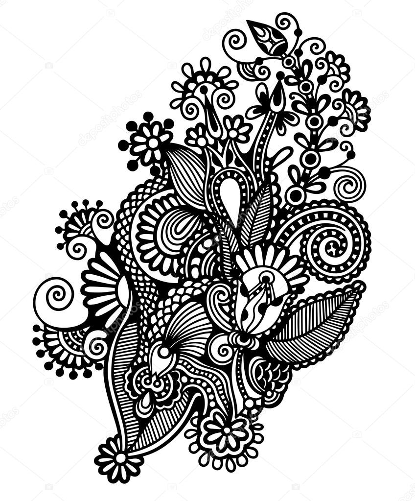 Line Art Design Kft : Original hand draw line art ornate flower design