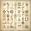 49 hand drawing doodle icon set, medical theme — Stock Photo #21076671