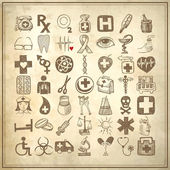 49 hand drawing doodle icon set, medical theme — Stock Photo
