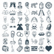 49 hand drawing icon set — Imagen vectorial