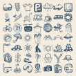 49 hand drawing icon set, travel theme — Vector de stock