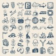 49 hand drawing icon set, travel theme - Imagen vectorial