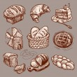 Digital drawing bakery icon set - Stock Vector