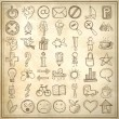 Set of 49 hand draw web icon design elements — Stock Vector
