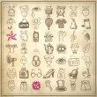 49 hand drawing doodle icon set - Vettoriali Stock