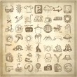 49 hand drawing doodle icon set, travel theme — Stockvektor