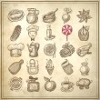 Stock Vector: 25 sketch doodle icons food