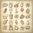 Stockvector : 25 sketch doodle icons food