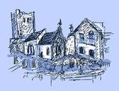 Digital sketch drawing of rural landscape — Stock Vector