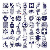49 hand drawing icon set, medical theme — Stock Vector