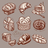 Digital drawing bakery icon set — Stock Vector