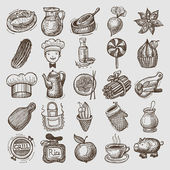 25 sketch doodle icons food — Stock Vector