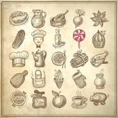 25 sketch doodle icons food — Wektor stockowy