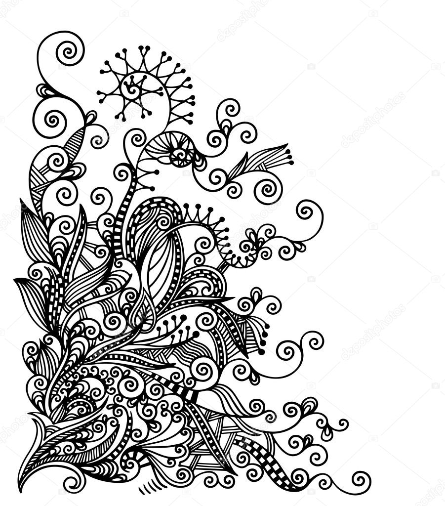 Traditional Flower Line Drawing : Original hand draw line art ornate flower design
