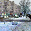 Stock Photo: Digital painting of winter Kiev city landscape, Ukraine, slush a