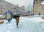 Digital art painting of winter city landscape — Stock Photo