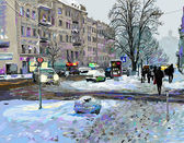 Digital painting of winter Kiev city landscape, Ukraine, slush a — Stock Photo