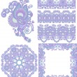 Collection of seamless ornamental floral stripes and flower circ - Stock Vector