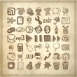 49 hand drawing doodle icon set — Vector de stock