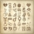 36 hand drawing doodle icon set, wedding sketchy illustration - Stock Vector