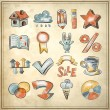 Royalty-Free Stock Immagine Vettoriale: Hand draw sketch watercolor icon collection on grunge background